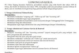 Lowongan Kerja PT. China Taiping Insurance Indonesia