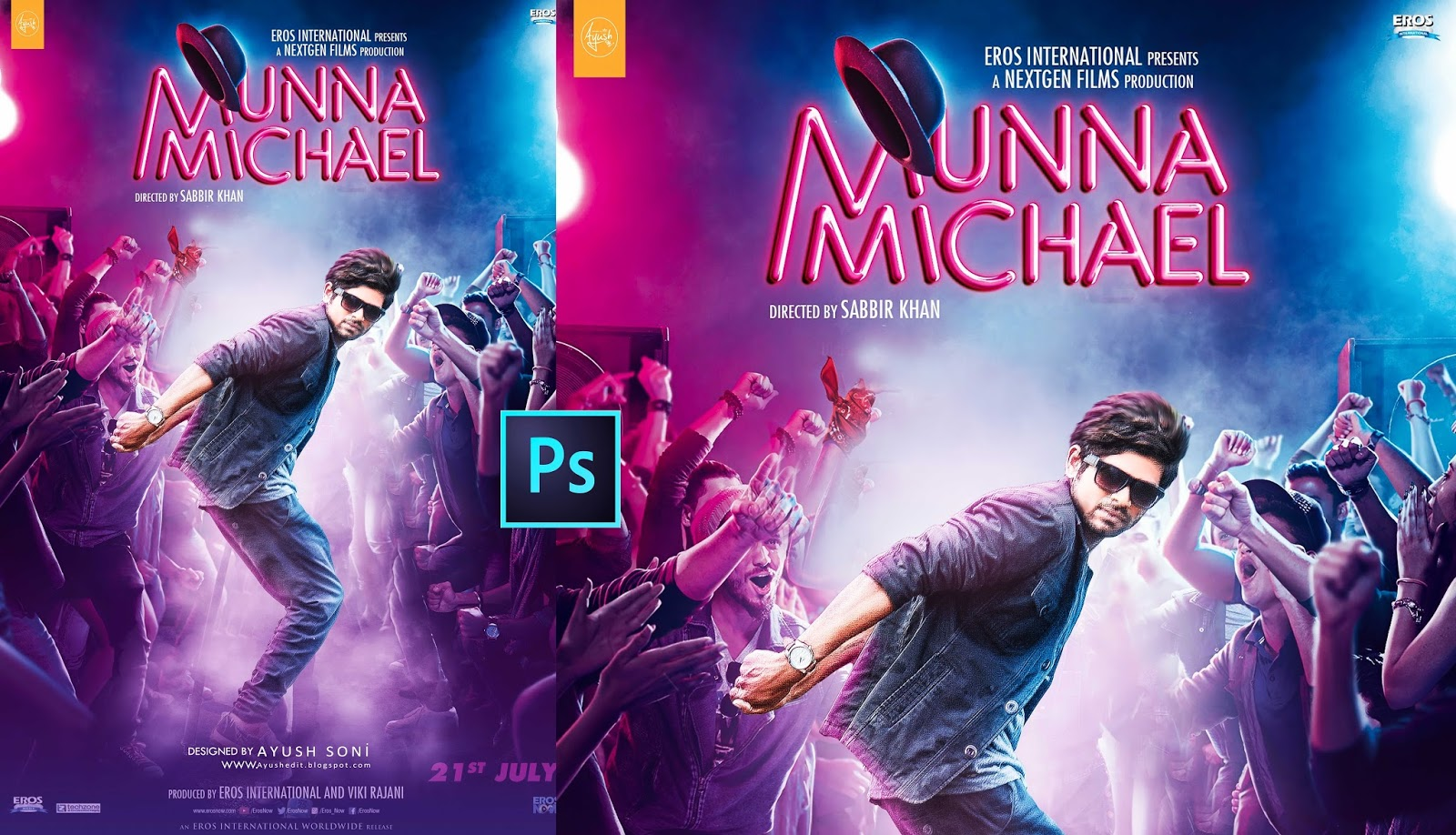 Munna michael movie poster design in photoshop tutorial ayush creation munna michael movie poster design in photoshop tutorial baditri Gallery