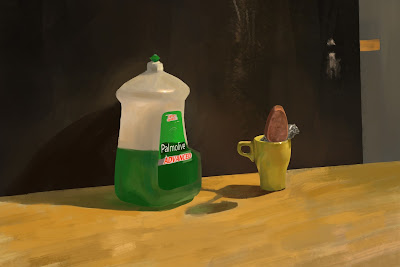 In class cleaning bottle still life