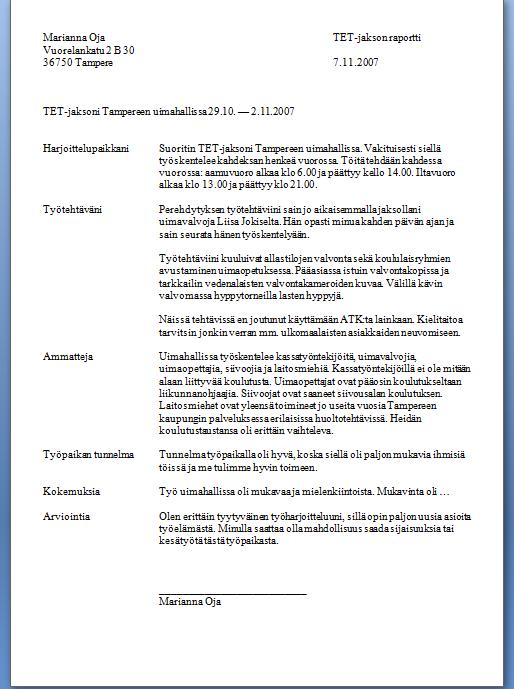 Työharjoitteluraportti