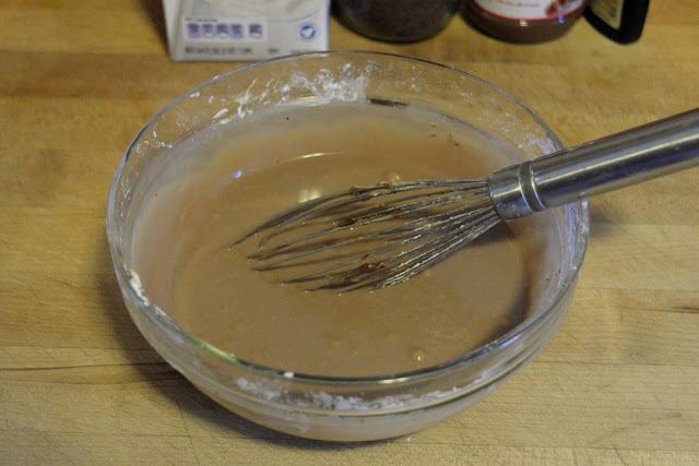 The glaze whisked together and smooth in the bowl