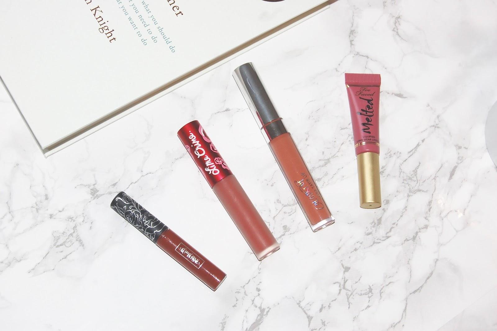 My favourite liquid lipsticks - Colourpop, Kat Von D, Too Faced and Lime Crime