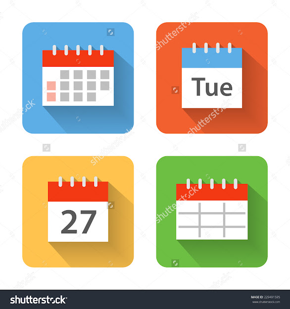 Flat Calendar Icons Vector Illustration