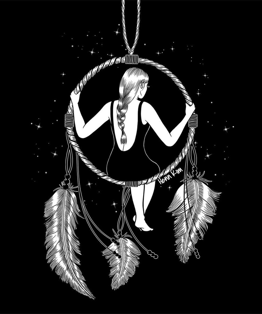 01-Dream-a-Little-Dream-of-Me-Henn-Kim-Surrealism-Black-and-White-Symbolic-Illustrations-www-designstack-co