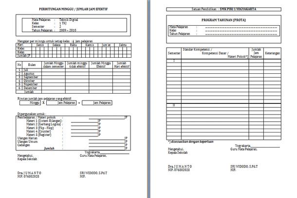 Format Administrasi Buku Kerja Guru SMK
