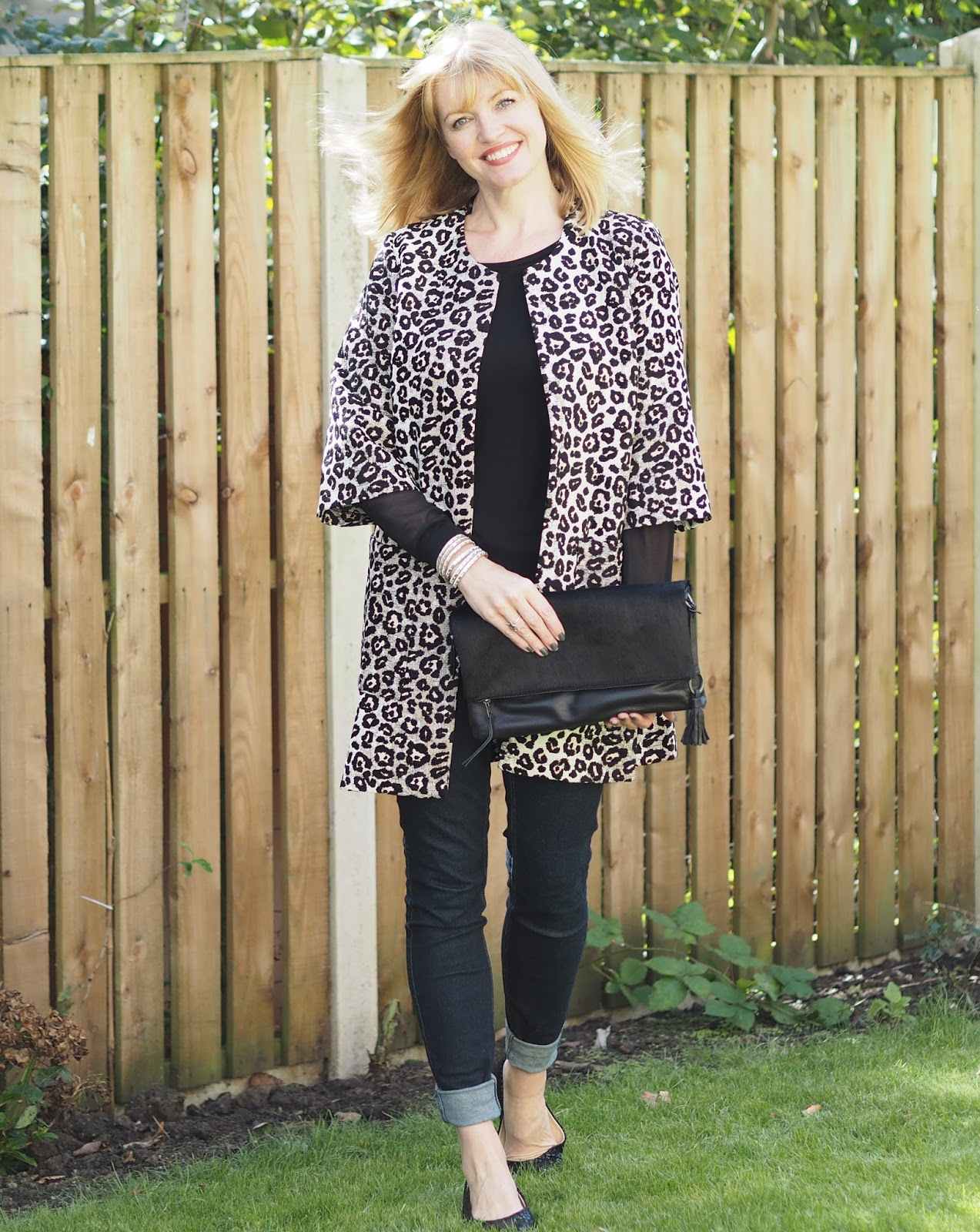 Leopard animal jacquard jacket over 40 style