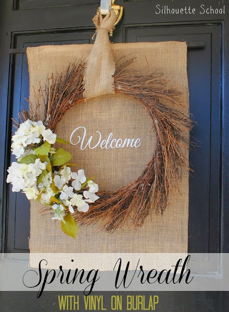 vinyl on burlap, silhouette vinyl on burlap, silhouette spring front door wreath