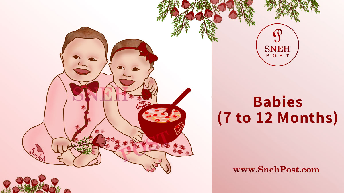 7 to 12 months old weaning babies' health guide: Happy baby boy and girl chilling together in beautiful pink dress with red roses and a red bowl full of cerelac in hands
