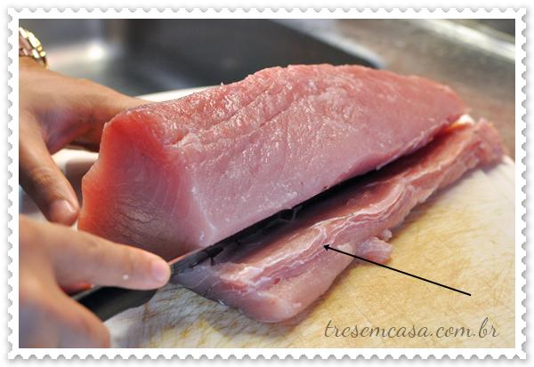 como cortar atum
