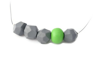Grey Faceted Polymer Clay Necklace