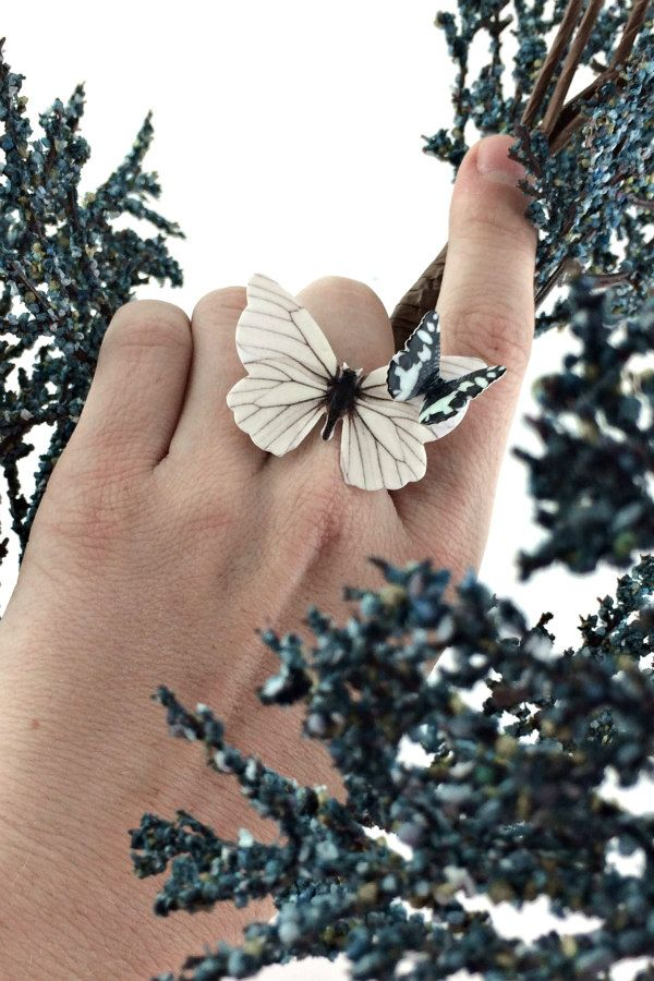 recycled paper butterfly ring