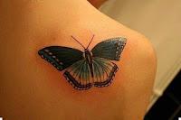 3д тату бабочек на плече
