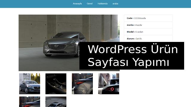 wordpress ürün sayfası yapımı
