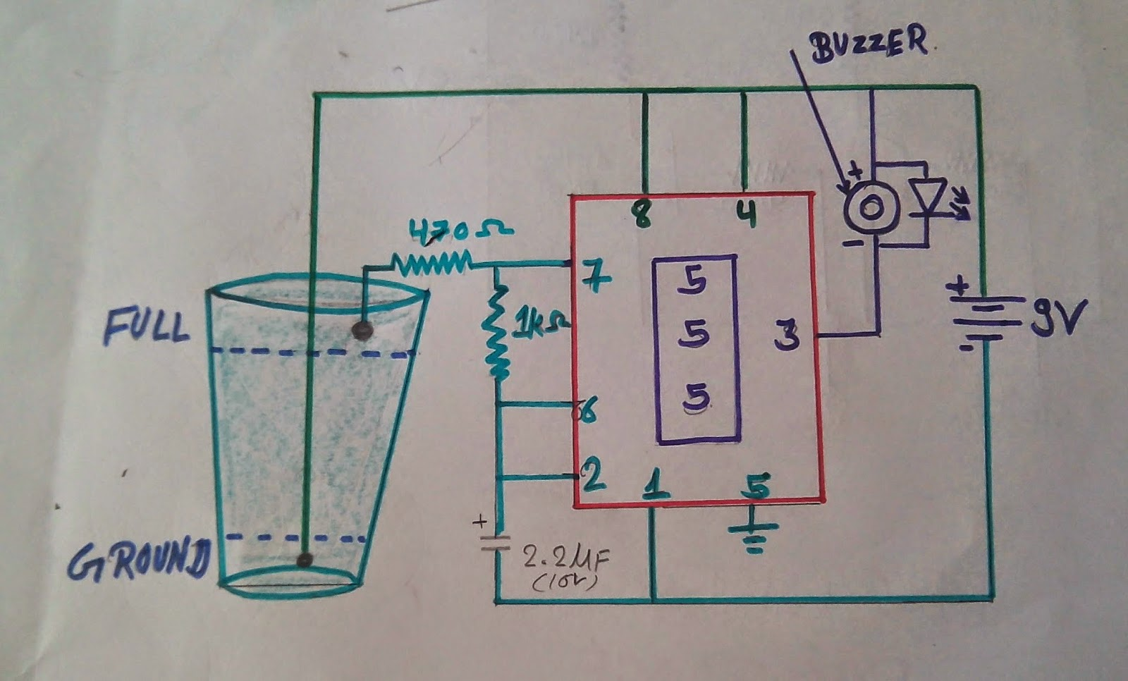 Water Level Indicator Circuit Diagram Schematic Of