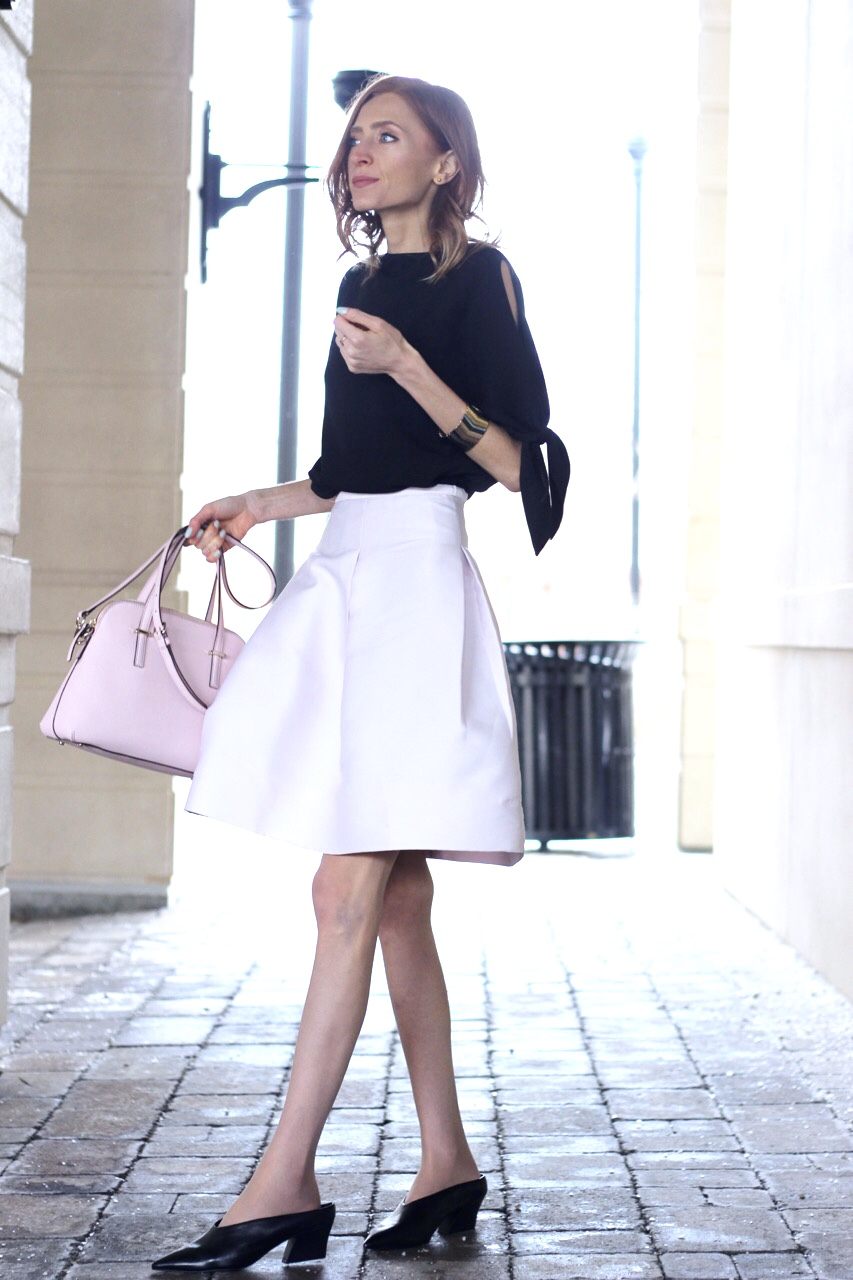 RW& Co black bow dress, 424 Fifth Pink Birdcage Skirt, Kate Spade Blush Maise, Zara black leather mules -- Valentine's Day outfit