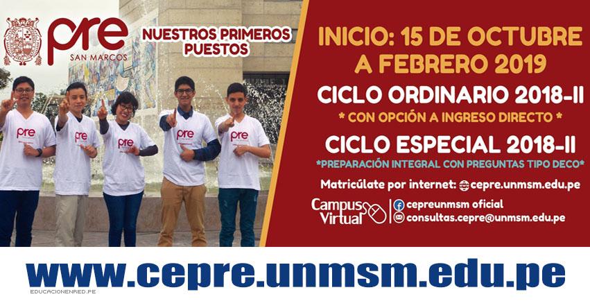 PRE San Marcos: Inscripción CEPREUNMSM 2018-2 - Ciclo Ordinario 2018-II - Ciclo Especial 2018-II - www.cepre.unmsm.edu.pe