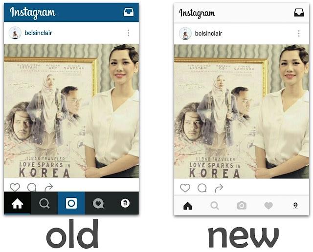 tampilan design lama baru instagram 2016 versi aplikasi mobile