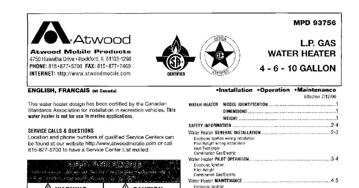 1983 fleetwood pace arrow owners manuals: atwood l.p. gas ... state hot water heater wiring diagram