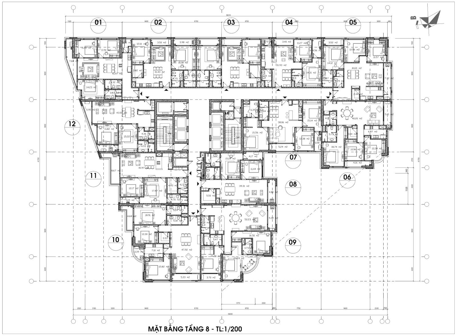 Mặt bằng điển hình tầng 8 dự án Hateco La Roma Huỳnh Thúc Kháng