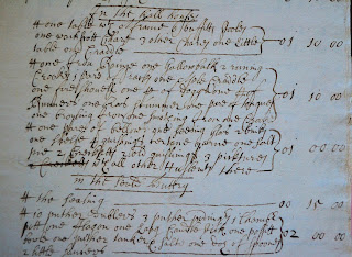 Excerpt from the probate inventory of George Brough, Selby, 1673