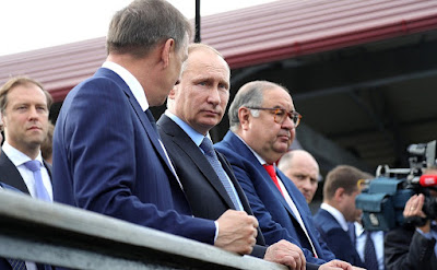 Vladimir Putin on the viewing platform Lebedinsky GOK.