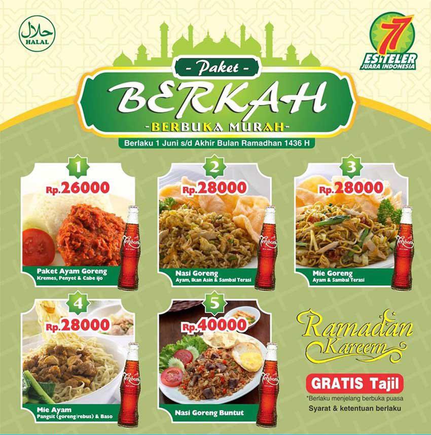 Harga Menu Paket Berkah Ramadhan Es Teler 77 2017