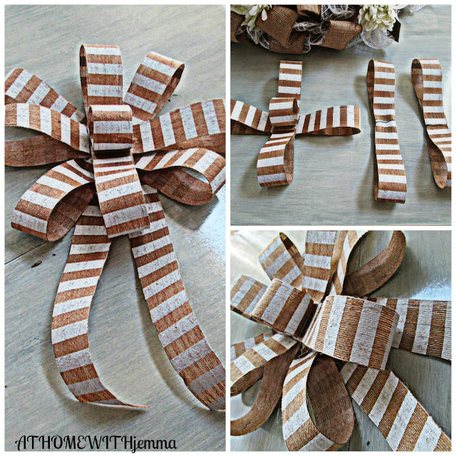 striped burlap bow for your wreath or door