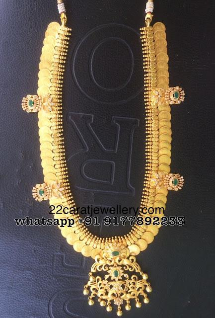 Trendy Silver Kasu Mala with Pendant