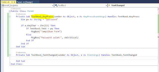 Code untuk keypress event tombol enter