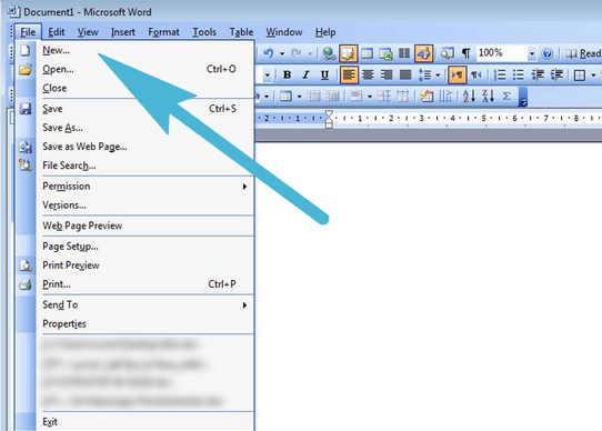 2 Cara Membuat Dokumen Baru pada Microsoft Word 2003