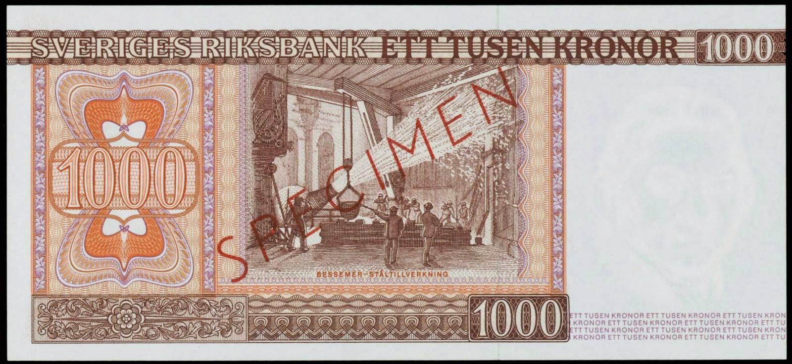 Sweden Currency 1000 kronor banknote