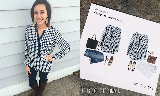 February 2016 Stitch Fix Review - 41 Hawthorn Quay Henley Blouse