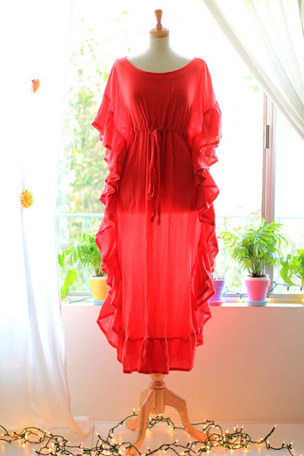 Red Ruffle Maxi Caftan by Mademoiselle Mermaid