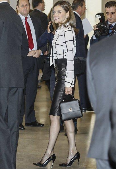 Queen Letizia wore Carolina Herrera Cape and Black patent and suede pumps, Boss Medium Bespoke Bag