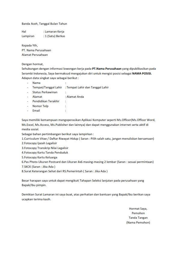 Contoh Surat Lamaran Kerja Pt Kai 2010