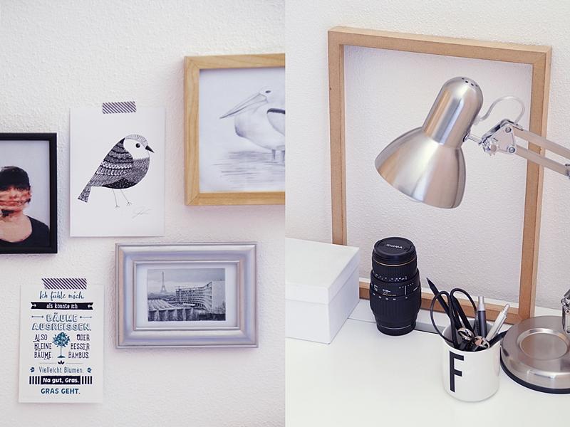 Schreibtisch dekorieren mit Bilderwand, Leuchte und Accessoires in Schwarz/ Weiß/ Naturtönen