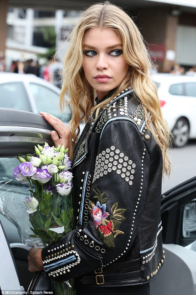 Street Style: Stella Maxwell after Versace Menswear Show