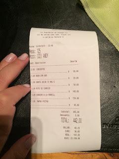 Conta do restaurante Familia Weiss em Bariloche