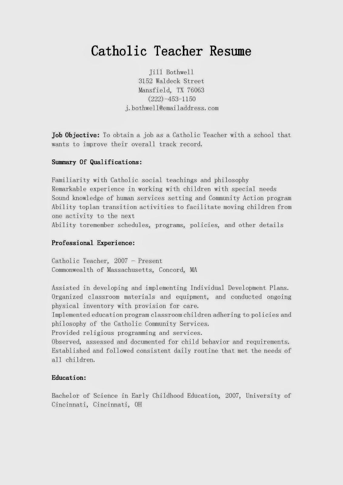 resume samples  catholic teacher resume sample