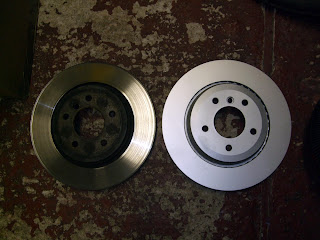BMW E46 330d rear brake disc old vs new