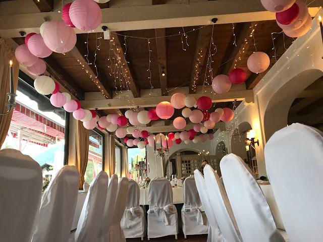 Lampionhimmel Hochzeit, , Riessersee Hotel, Garmisch-Partenkirchen, Bayern, Vintage, Rosen, Schleierkraut, Rosa, Pink, See und Berge