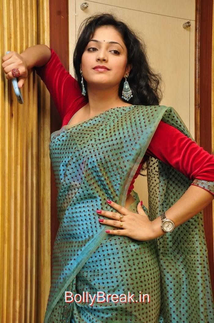 Telugu Actress Haripriya, Haripriya Hot HD Images in Teal Green Colour Saree