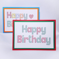 Happy birthday set horizontal stitch shadow effect embroidery on card for greetings card making.