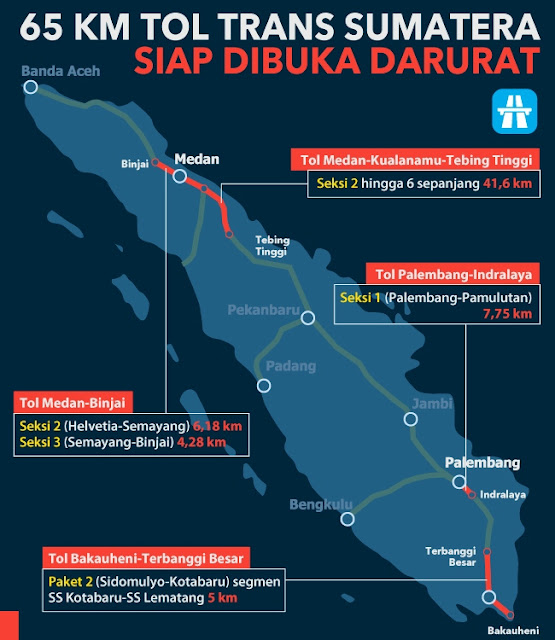 Peta Jalan Tol Fungsional di Sumatera untuk Mudik 2017