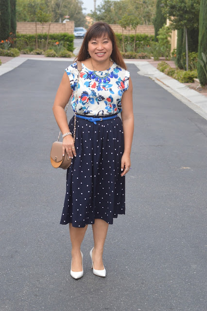 pattern mixing, j crew pleated midi in polka dots