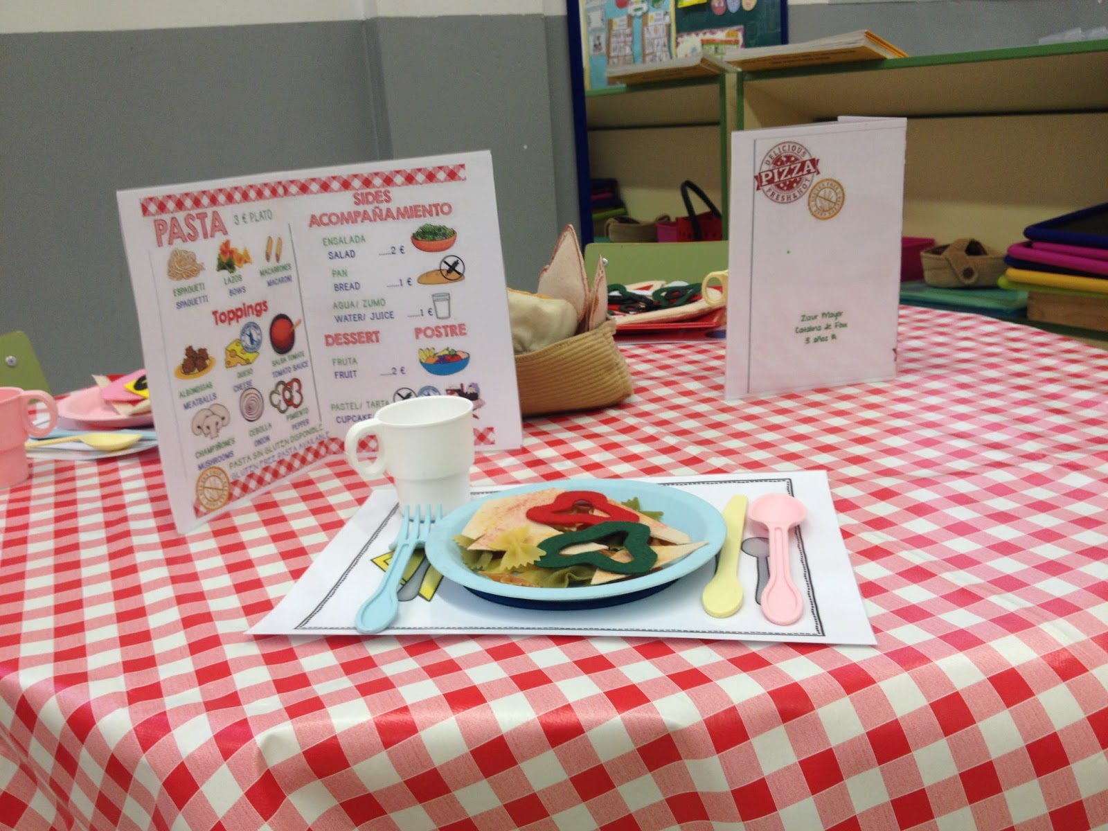 The teaching express dramatic play the italian restaurant for The table restaurant menu