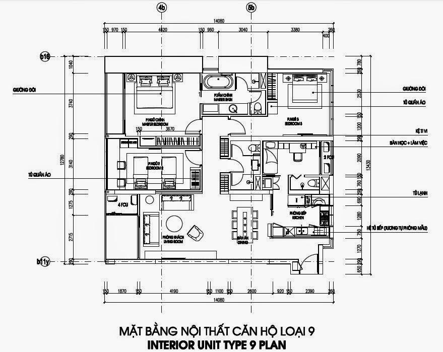 Bản vẽ thiết kế căn hộ CH9 - 164m2 Chung cư Dolphin Plaza