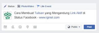 Trik Cara Membuat Tulisan yang Mengandung Link Aktif di Status Facebook Terbaru - Karefi