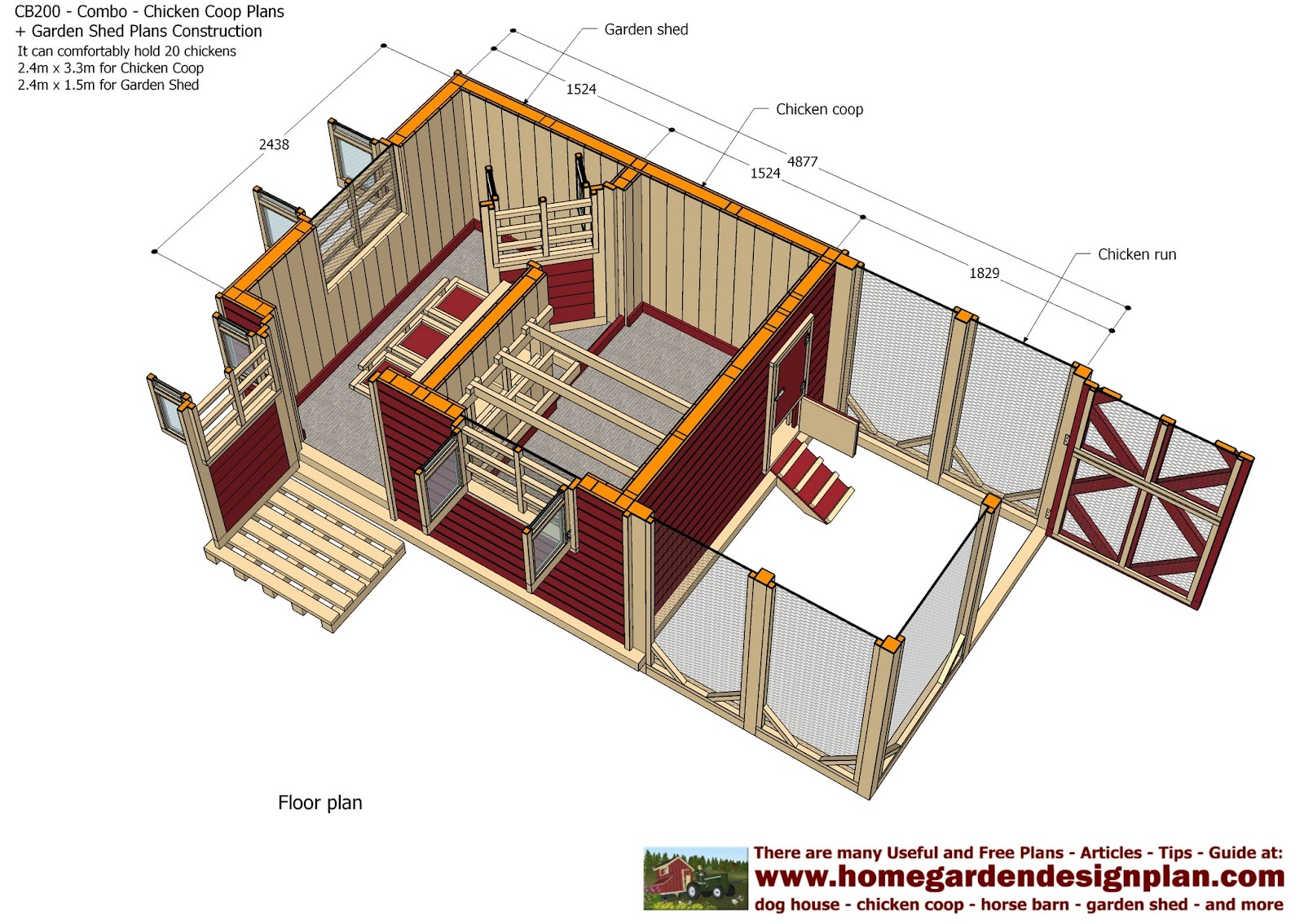 Home garden plans cb200 combo plans chicken coop for Poultry house plans for 100 chickens