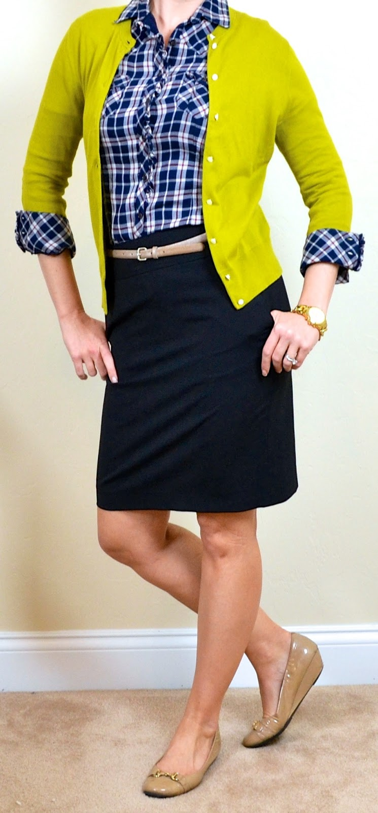 Outfit Posts: outfit post: blue plaid shirt, mustard green